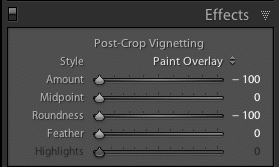 Lightroom Effects Panel Settings