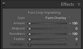 Lightroom Effects Panel Settings