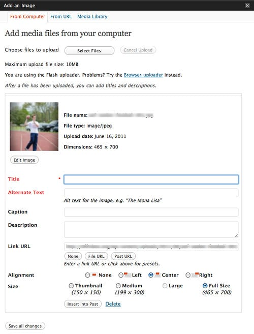 WordPress Image Uploader - Title and Alternate Text Fields In Red