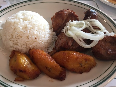 rice, plantains and pork belly