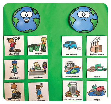 It's Earth Day book activities happy earth vs. sad earth matching game