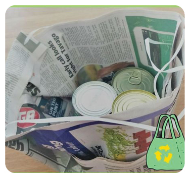 It's Earth Day book activities - make a bag STEM challenge using recycled newspaper