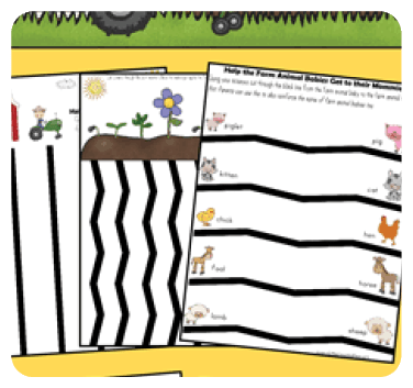 If your child loves the story Are You My Mother by P.D. Eastman, print out this farm themed cutting exercise worksheet to practice fine motor skills!