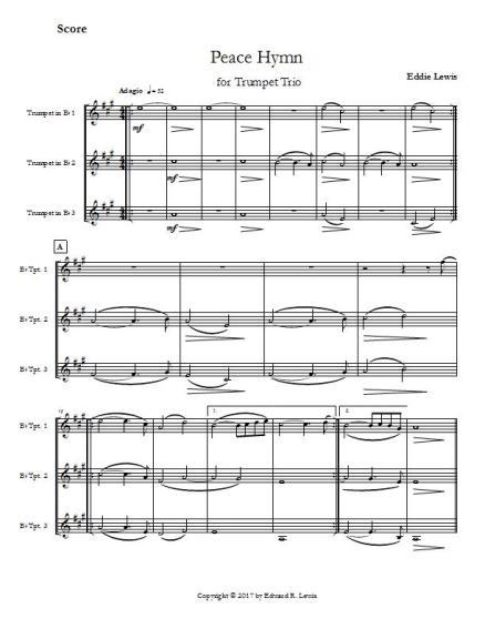 Peace Hymn trumpet trio sample score