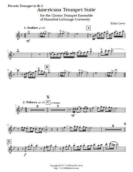 Americana Trumpet Suite Trumpet Septet Part Sample