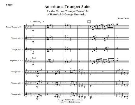 Americana Trumpet Suite Trumpet Septet Score Sample
