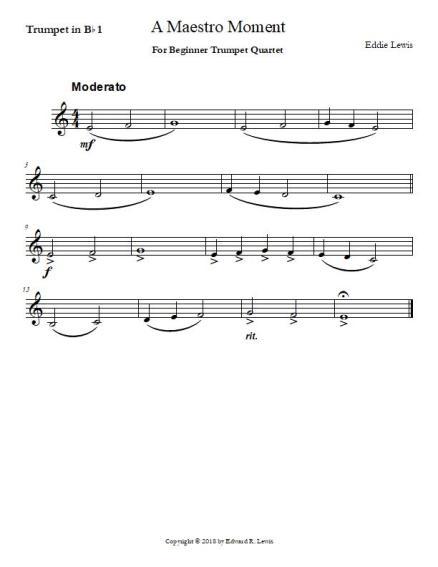 A Maestro Moment Beginner Trumpet Quartet Sheet Music PDF Sample Part
