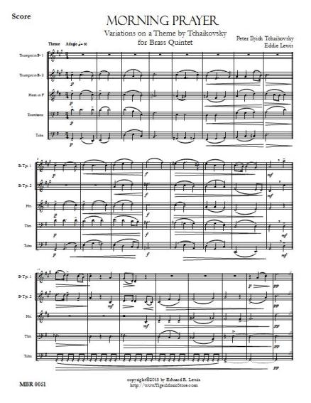 Tchaikovsky Mourning Prayer brass quintet sheet music pdf sample score