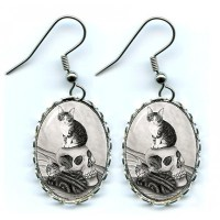Cat Earrings Witch's Kittens, Gothic Cats Vampire Skull ...