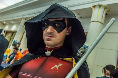 Darren Tubridy as Arkham City Robin with Tiger Stone FX Arkham Knight Robin mask