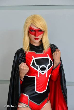 Resident Redhead as Red Lantern Supergirl with Tiger Stone FX lantern mask