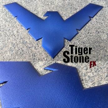 Metallic blue nightwing chest logo symbol emblem - by Tiger Stone FX