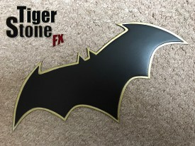 Batman Rebirth emblem (Jason Fabok inspired) in with aged gold border -- by Tiger Stone FX