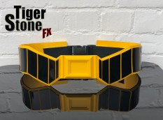 Batman Rebirth belt in black and yellow made by Tiger Stone FX