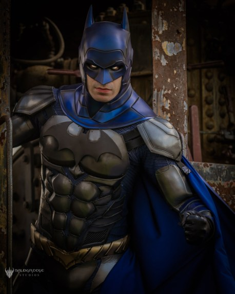 Armored Batman cowl - made by Tiger Stone FX, worn by Dynamite Webber Cosplay - photo by Baldgroove Photography