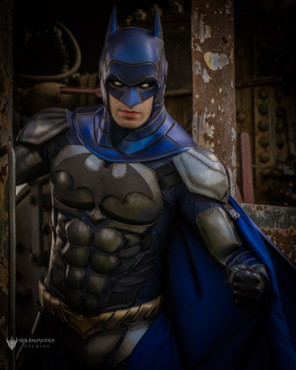 Armored Batman cowl made by Tiger Stone FX, worn by Dynamite Webber - photo by Baldgroove Photography