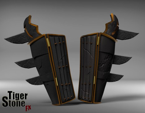 Batman Ninja gauntlets - finished sculpt (front) - made by Tiger Stone FX