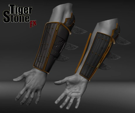 Batman Ninja gauntlets - finished sculpt (on arms) - made by Tiger Stone FX