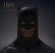 Capullo New 52 Rebirth Metal Batman cowl by Tiger Stone FX (finished sculpture, front)