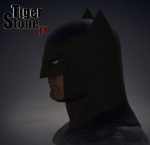 Capullo New 52 Rebirth Metal Batman cowl by Tiger Stone FX (finished sculpture, side)