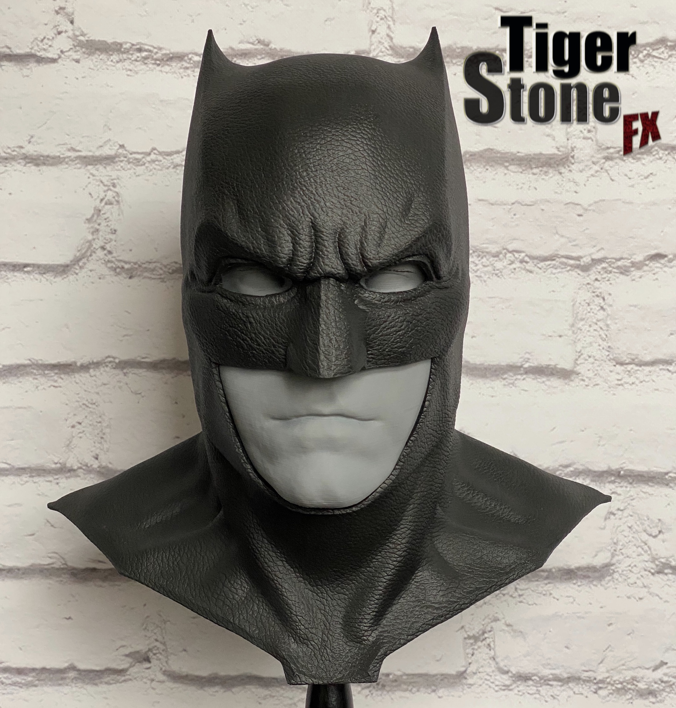 Justice League Batman cowl Batfleck (front) - handmade by Tiger Stone FX