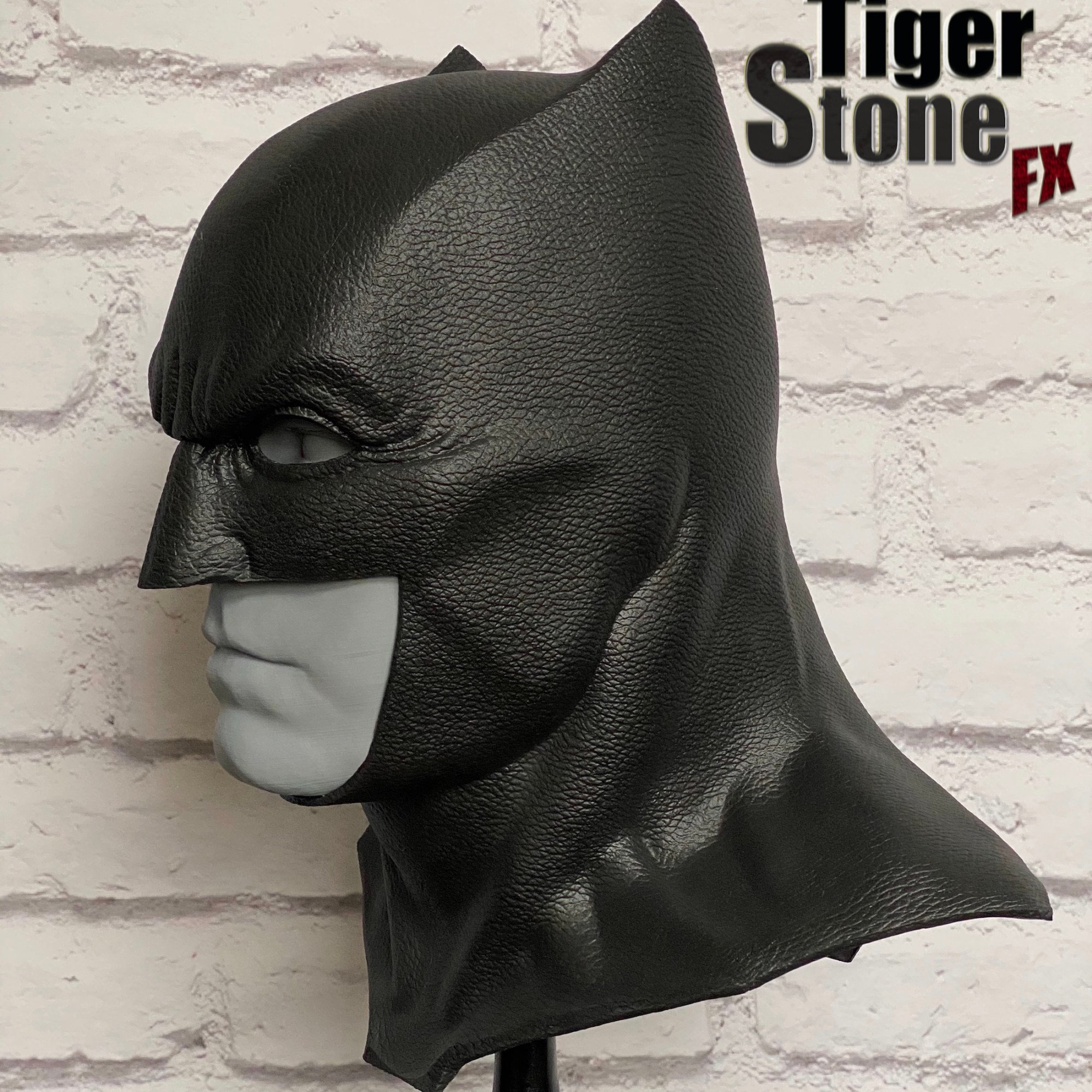 Justice League Batman cowl (left profile) - handmade by Tiger Stone FX