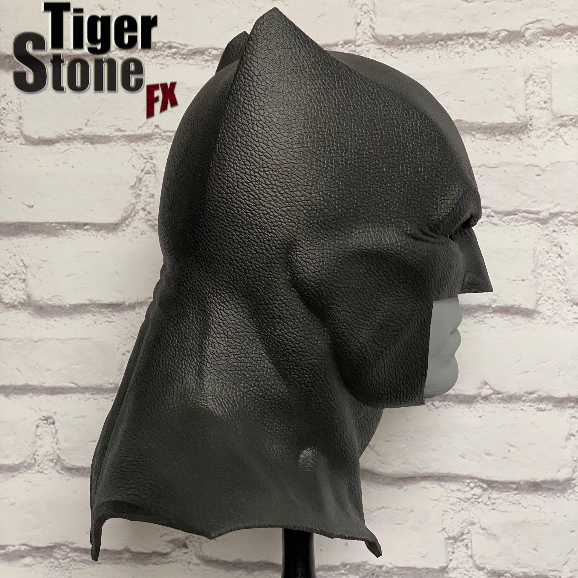 Justice League Batman cowl (right profile) - handmade by Tiger Stone FX