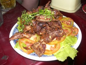 fried bat and rat with salad vietnam