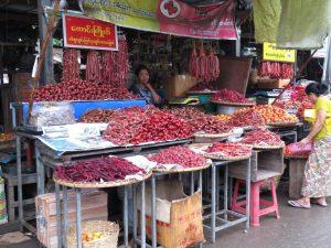 Myanmar local sausage stall at market