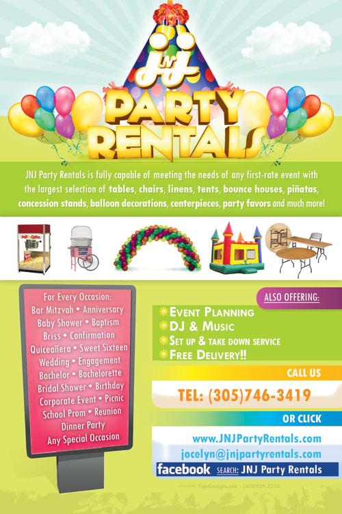 Flyer Design  JNJ Party Rentals of Hialeah