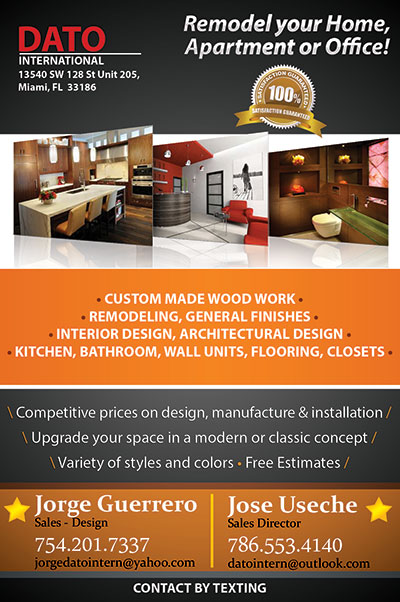 Flyer Design for Interior Design  Remodeling  Dato