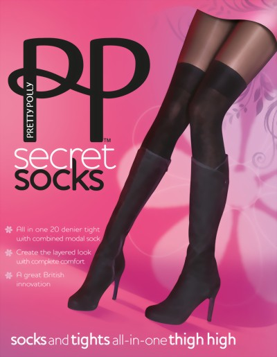 Pretty Polly Secret Socks - Thigh high modal socks and tights all-in-one