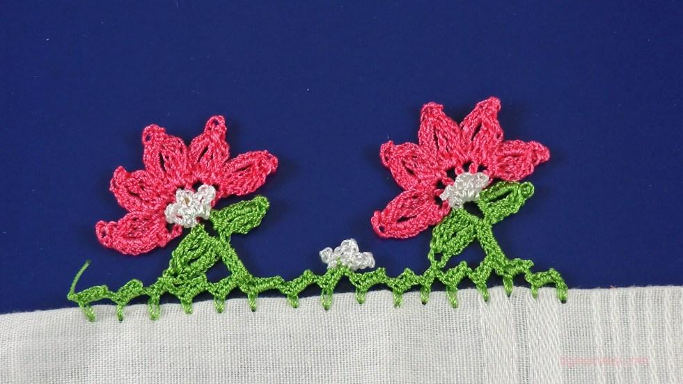 beş yapraklı çiçek motifli yazma kenarı