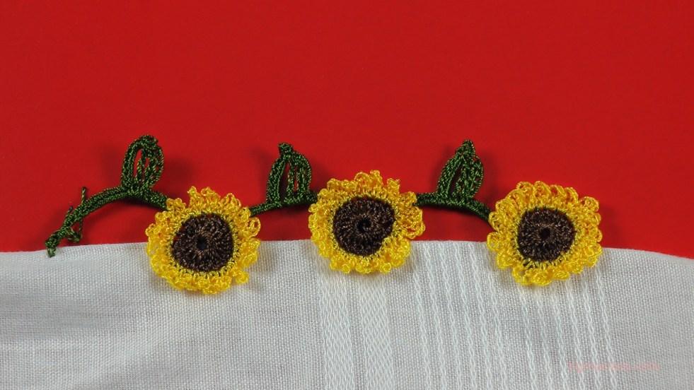 ayçiçeği (günebakan çiçeği) motifli yazma kenarı