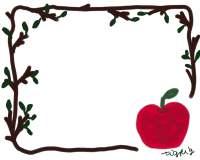 フリー素材:フレーム素材。リンゴのガーリーなイラスト