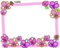 フリー素材:フレーム素材。<br> お花畑のガーリーなイラスト。