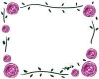 フリー素材:フレーム素材。<br> ガーリーでロマンチックなバラのイラスト。