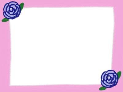 フリー素材:フレーム素材。400pix<br>  ガーリーな青いバラのピンクのイラスト。