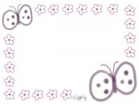 フリー素材:フレーム素材<br> ガーリーな蝶々(ちょうちょう)のイラスト素材(640pix)