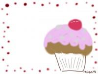 フリー素材:フレーム;ラブリーなカップケーキのイラスト素材