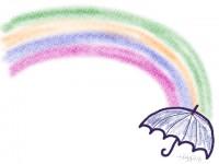 フリー素材:ラブリーな虹と傘のイラスト:フレーム素材