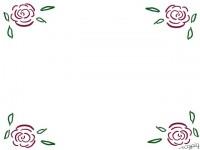 フリー素材:フレーム;エレガントな薔薇(バラ)のイラスト素材