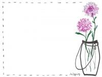 フリー素材:フレーム;ナチュラルな花瓶と花のイラスト素材