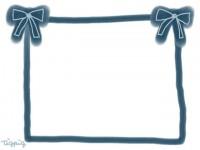 フリー素材:フレーム;紺色のリボンのイラスト素材