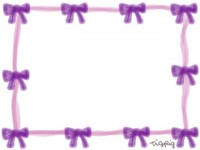 フリー素材:フレーム;ロマンチックな紫のリボンのイラスト素材