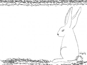 webデザイン:フレーム;ガーリーなモノクロの兎(うさぎ)のイラスト。フリー素材