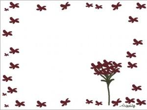 フリー素材:ガーリーな秋色の花のイラストのフレーム素材(640×480pix)