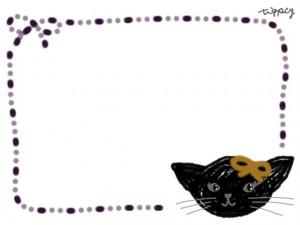 フリー素材:フレーム;ガーリーなモノクロの黒猫。ハロウィンのwebデザイン素材(640×480pix)