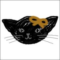 フリー素材:twitterアイコン;ハロウィンの黒猫のガーリーなwebデザイン素材