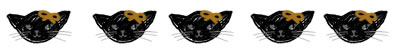 フリー素材:飾り罫・ライン;ガーリーなモノクロの黒猫。ハロウィンのwebデザイン素材